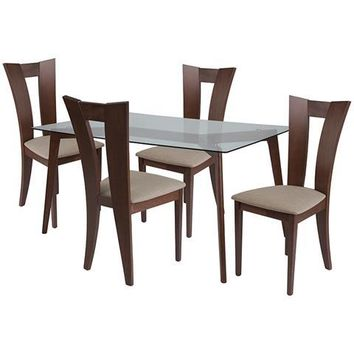Huntington 5 Piece Walnut Wood Dining Table Set with Glass Top and Slotted Back Wood Dining Chairs - Padded Seats