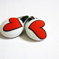 Heart Barrettes - Valentine's Day Accessories - Hair - Red and White - Gifts for Her - Teens - Black - Under 10