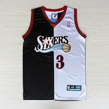 Allen Iverson Philadelphia 76ers #3 Black and White Split Jersey