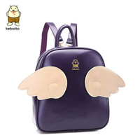 cute angel wings backpack,leather students born small backpack,variety of color choices,designer famous brand women bag