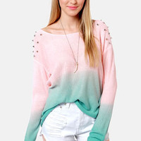 Dangerous Darling Pink and Turquoise Studded Ombre Sweater