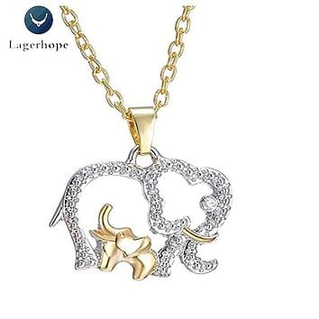 Mother's Day Gift Necklace Women Korean Fashion Lovely Elephant Crystal Alloy Metal Pendant Necklace Jewelry Gold Chain