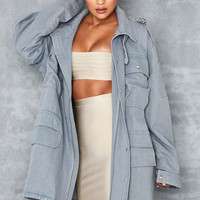 'Shape It' Pale Blue Denim Oversized Military Jacket - Mistress Rocks
