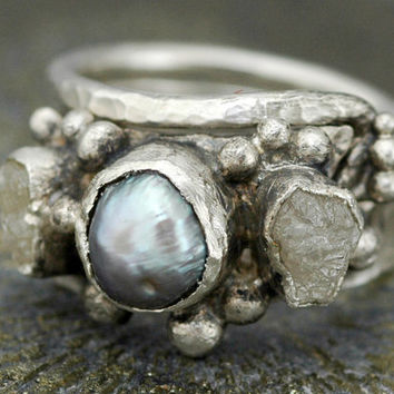 Diamond and Pearl Engagement Ring with Sterling Silver Wedding Band- Hammered Texture- Custom Made