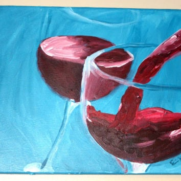 Original Painting, Original Artwork, Red Wine, Wine Glasses, Turquoise Painting, Kitchen Artwork, Kitchen Decor, Kitchen Art