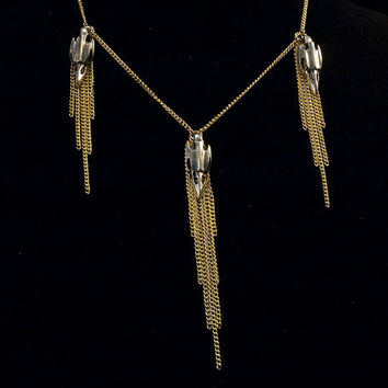 silver bird skulls and gold chain tassel necklace // silver toned bird skull charms on gold toned chain short necklace