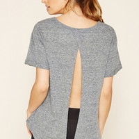 Active Heathered Open-Back Top