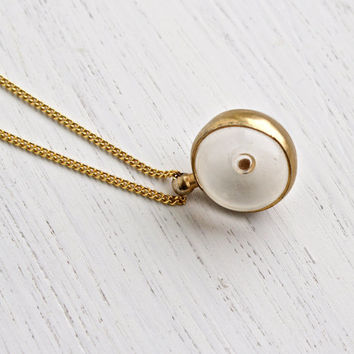 Vintage Mustard Seed Pendant Necklace - 1960s Gold Tone Clear Lucite Globe Costume Jewelry / Faith & Change