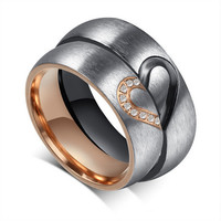 """Lovers Matching Heart 316L Stainless Steel Wedding Rings For Men Women Promise Rings """"Real Love"""" Couples Rings with crystal!"""