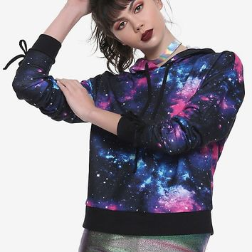 Galaxy Print Ruched Tie Sleeve Girls Hoodie