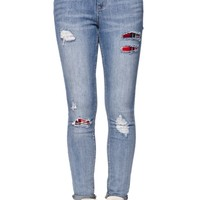 Bullhead Denim Co High Rise Skinniest Lumberjack Plaid Jeans - Womens Jeans - Blue -