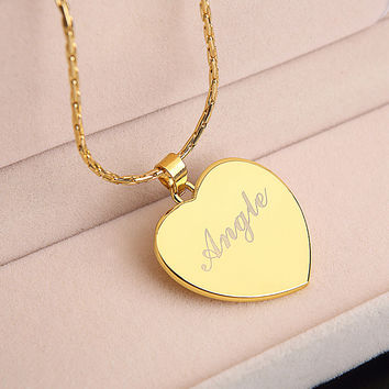 personalized custom name necklace gold chain heart pendant nameplate necklace Words Fashion Monogram Necklace Valentines Gift