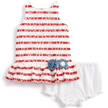Infant Girl's Pippa & Julie Stripe Lace Sleeveless Dress & Bloomers,