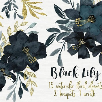 Black lily | lily Flowers, Watercolor lily, hand painted lily, lily clipart, flower clipart, wedding diy elements, black flower, bouquet