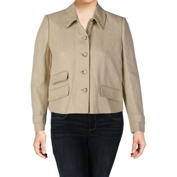 Lauren Ralph Lauren Womens Silk Blend Herringbone Four-Button Blazer
