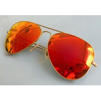 Authentic Ray Ban Gold Orange Mirrored Sunglasses RB3025/69 Aviator New
