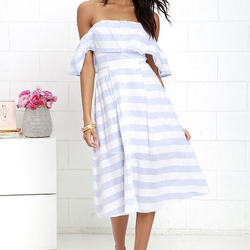 Transatlantic Voyage Blue and Ivory Striped Midi Dress