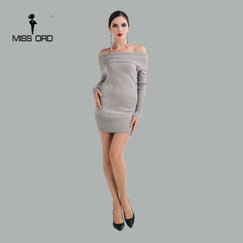 Missord 2017 Sexy stretch long-sleeved word shoulder sweater FT4159