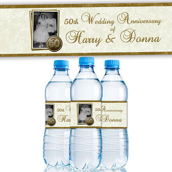50th Wedding Anniversary Party - Custom Photo Water Bottle Labels - 50th Anniversary Ideas - 50th Anniversary Party Favors - Vow Renewal