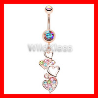 Rose Gold 14g Navel Ring Sparkling Heart Cluster Aurora Borealis Navel Jewelry Navel Ring Belly Button Belly Piercing Navel Piercing Pink