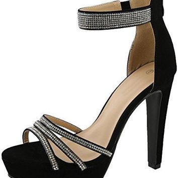 Cambridge Select Womens Open Toe Crystal Rhinestone Ankle Strappy Chunky Platform Tapered Heel Sandal