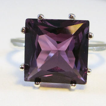 Alexandrite Princess Square Ring 925 Sterling Silver