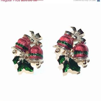 SALE - Christmas Bell Clip Earrings Vintage Red and Green on Gold Tone Enamel Clip-ons