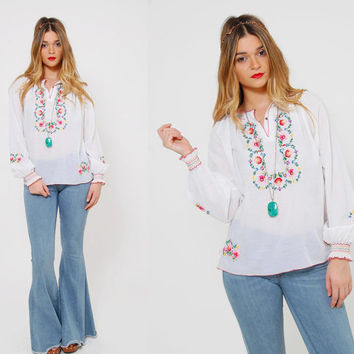 Vintage 70s Peasant Top HAND EMBROIDERED Floral Top White Ethnic Folk Boho Tunic