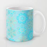 Aqua & Grey Floral Tropical Pattern Mug by Micklyn