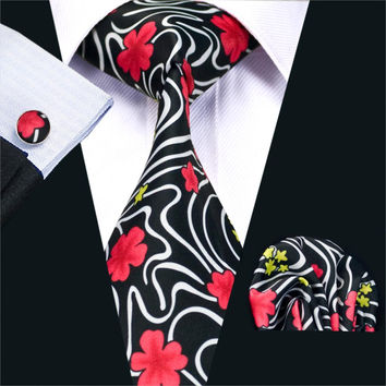 New Men`s Ties Floral Cotton Fashion Print Neck Tie Hanky Cufflinks Set Ties For Men Business Wedding Party
