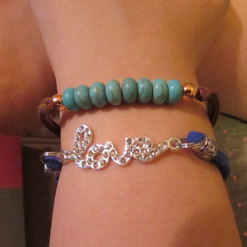 Genuine Suede Leather Turquoise Beaded Bracelet, Love Charm, Turquoise Bead, option, Magnet clasp