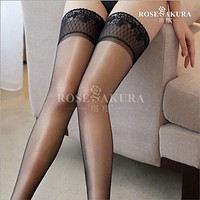 Womens Lace Top Silicone Stay Up shine thigh high socks ,knee high socks,oil flashing Pantyhose overal medias lingerie