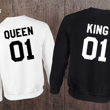 King Queen 01 Set of 2 Couple Crewnecks, King Queen 01 Set of 2 Couple Sweaters 100% cotton Tee, BLACK/White, UNISEX