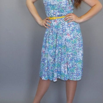 Vintage Honeymoon Dress 80s does 50's Blue Floral Print Tiki Tropical Maxi Beach Summer Sun dress Medium Large Drop Waist Boho Hipster 90's