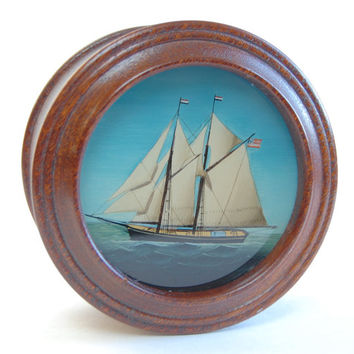 Antique Nautical Reverse Glass Wooden Box Victorian Americana Fine Art Ship Painting Handmade Round Fitted Box Collectibles Luxury Gift