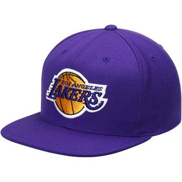 Men's Los Angeles Lakers Mitchell & Ness Purple Current Logo Wool Solid Snapback Adjustable Hat