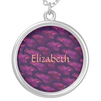 Pretty Purple Fans Abstract Pattern Round Pendant Necklace