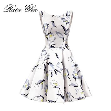 Short Evening Dress 2018 Floral Flower Printed Women Formal Prom Dresses
