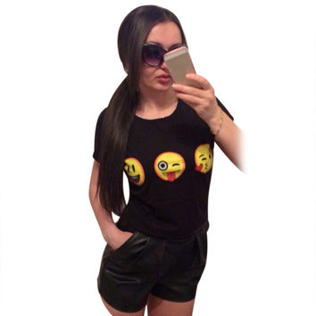 Women Emoticon T shirt 2016 Summer Style Funny Printed Top Tee Short Sleeve Casual Black smiley face T shirt Casual Tees 41