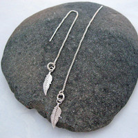 Feather Threader Earrings, 925 Sterling Silver, Long Chain Earrings, Tiny Feather Earrings, Modern Design, Leaf Threader, Needle Threaders