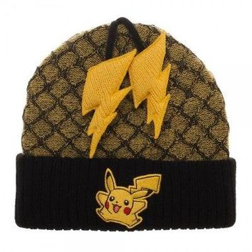 BioWorld - Pokemon Pikachu Yellow Black Beanie w/ Lightning Poms
