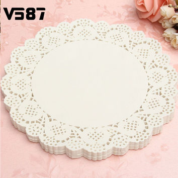 120Pcs White Round Lace Paper Doilies Plates Mats Coasters Placemats Wedding Events Party Table Gift Bag Decorative Accessories