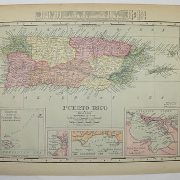 Puerto Rico Map, United States Map Territory Growth 1900 Original Map, Vintage Wall Map, Historical Map, Old Travel Map, History Buff Gift