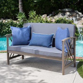 Longfellow Outdoor Acacia Wood Bench with Water Resistant Fabric Cushions