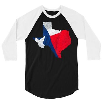 Eroded Texas Map With Flag 3/4 Sleeve Shirt