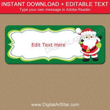 Santa Labels, Christmas Address Labels, Printable Santa Gift Labels, Santa Address Labels, Christmas Return Address Label, Santa Stickers C5