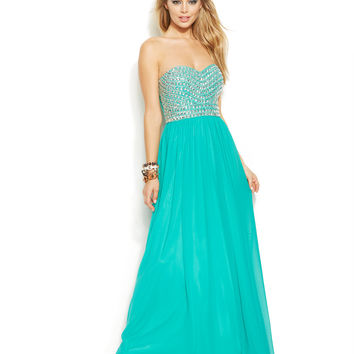 Joanna Chen Strapless Bead-Trim Pleated Gown