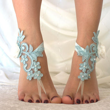 Blue Lace Barefoot Sandals, french lace, Bridal Lace Shoes , Foot jewelry,Wedding Shoes, Victorian Lace Anklet , Belly Dance