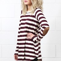Striped Suedette Elbow Patch Long Sleeve Top {Maroon}