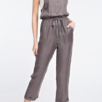 Cropped Drawstring Overalls - Grey